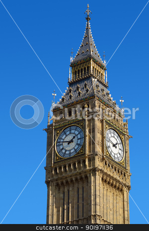 Big Ben Westminster Clock Tower in London with a blue sky. stock photo, Big Ben Westminster Elizabeth Clock Tower in London with a blue sky. by Stephen Rees