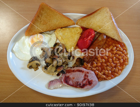Traditional English fried breakfast. stock photo, Traditional English fried breakfast. by Stephen Rees