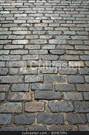 Old London cobblestone street close up.  stock photo, Old London cobblestone street close up.  by Stephen Rees