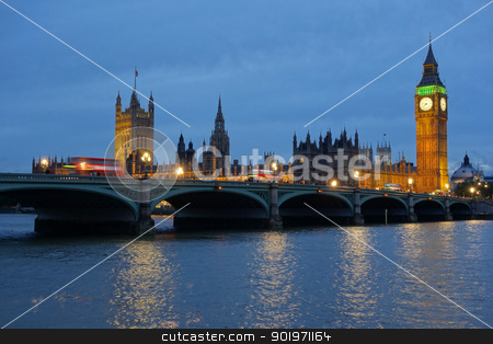 Westminster Bridge and the Houses of Parliament at dusk. stock photo, Westminster Bridge and the Houses of Parliament at dusk. by Stephen Rees