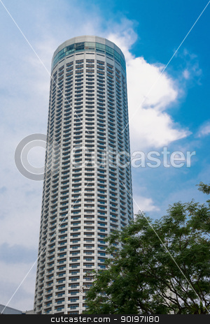 Skyscraper with blue sky and and tree stock photo, Skyscraper with blue sky on background and tree on front by Iryna Rasko