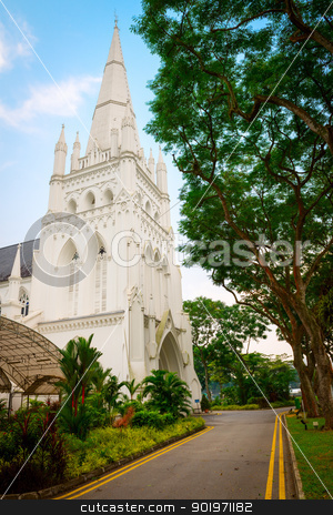 Andrew's Cathedral in Singapore. stock photo, Andrew's Cathedral in Singapore. St. Andrew's Cathedral is an Anglican cathedral in Singapore, the country's largest cathedral. by Iryna Rasko