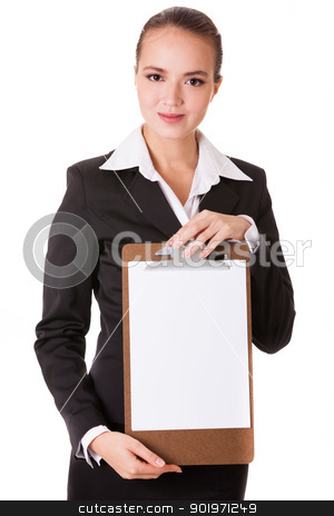 Smiling businesswoman holding a white clear papper stock photo, Smiling businesswoman holding a white clear paper on a holder isolated on white background by Iryna Rasko