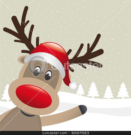 reindeer red nose wave stock photo, rudolph reindeer red nose wave santa claus by d3images