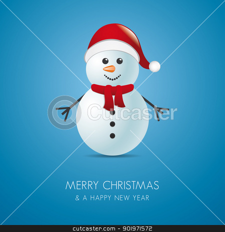 snowman scarf and hat stock photo, snowman with scarf and santa claus hat by d3images