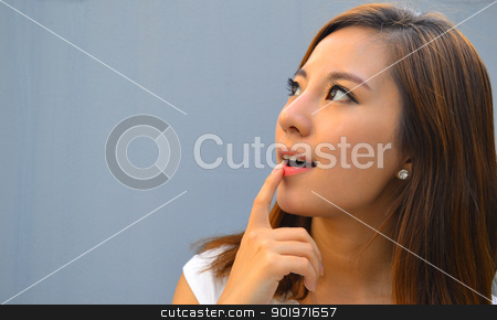 Beautiful young asian woman thinking  stock photo, Beautiful young asian woman thinking