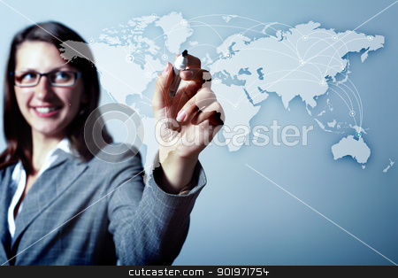 Internet concept of global technology stock photo, Modern Business World, A businessman navigating virtual world map by Sergey Nivens