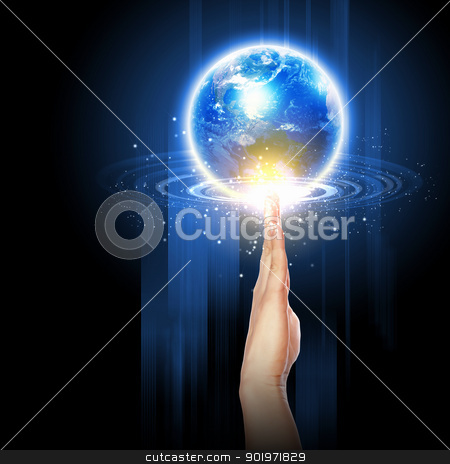 hand touching the earth stock photo, Human hand holding our planet earth glowing.Elements of this image furnished by NASA. by Sergey Nivens