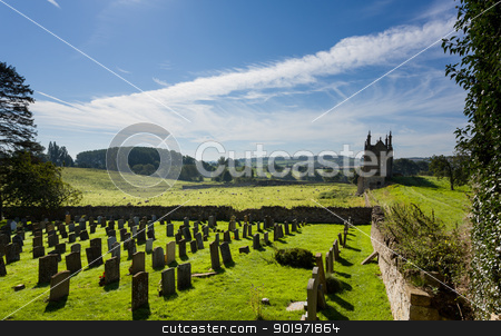 Churchyard and lodges in Chipping Campden stock photo, St James Church and lodges to Campden house in old Cotswold town of Chipping Campden by Steven Heap