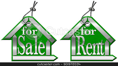 House Tag For Sale and For Rent - 2 Items stock photo, Leather and metal house tag with steel cable and written for sale and for rent