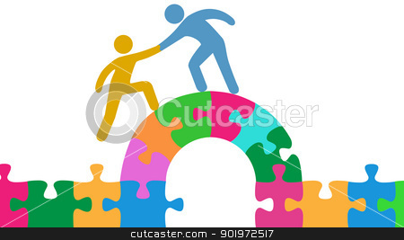 People help join solve bridge puzzle stock vector clipart, Person helps people join and solve bridge puzzle by Michael Brown