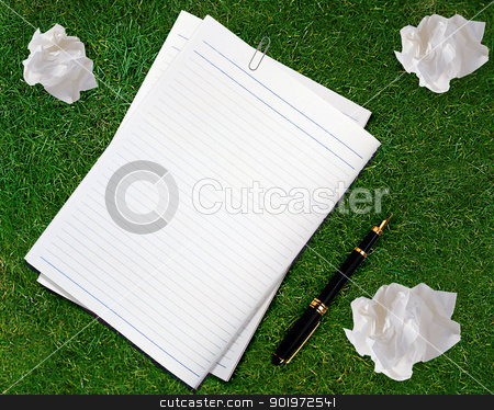 Blank white paper  stock photo, Blank white paper with pen and crumpled paper. by Designsstock