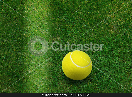 tennis ball stock photo, tennis ball beside the court line.  by Designsstock