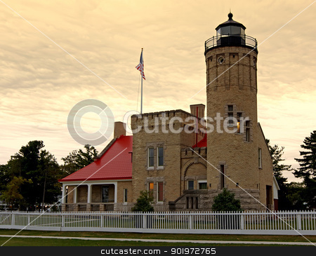 Lighthouse at Sunrise stock photo, Sunrise at the Old Mackinac Point Lighthouse located in Mackinaw City, Michigan,USA. by Delmas Lehman