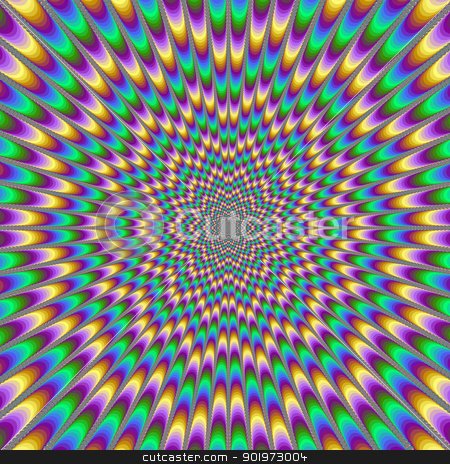 Eye Bender stock photo, Digital abstract image with a psychedelic design producing the illusion of movement in yellow, green, blue and pink. by Colin Forrest