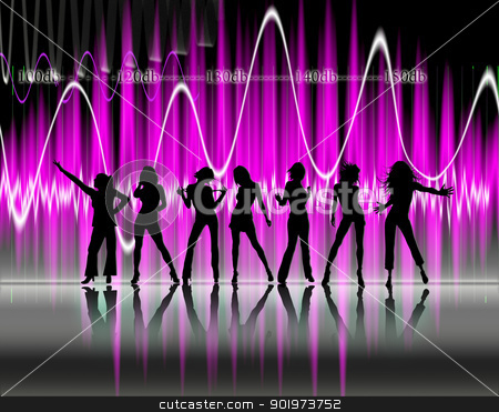 pretty women dancing  stock photo, Silhouettes of pretty women dancing over abstract background by carloscastilla
