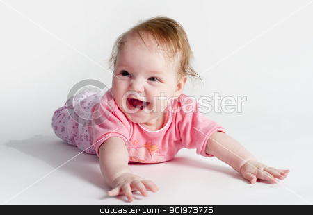 adorable little baby girl stock photo, Close up beautiful 5 months old caucasian baby girl by Aikon