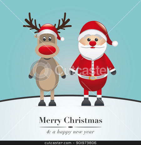 reindeer red nose and santa claus stock photo, reindeer red nose and santa claus hat by d3images