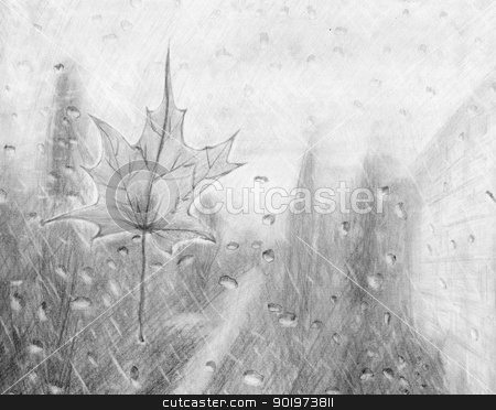 Season sketch draw stock photo, Pencil sketch - Maple leaf on the window in the rain by Imaster