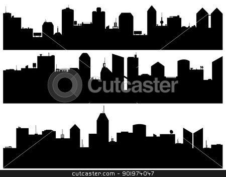 cityscape stock vector clipart, Set of cityscape illustrated on white background by Smultea Simona