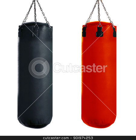 Punching bag stock photo, Punching bag for boxing or kick boxing sport, isolated on white background. by Designsstock
