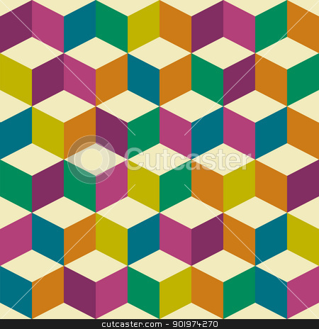 Optical seventies jester stock vector clipart, Seventies inspired jester background with seamless repeating tile background by Michael Travers