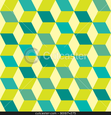 Seventies green seamless stock vector clipart, Green retro seventies inspired tile background with box design by Michael Travers