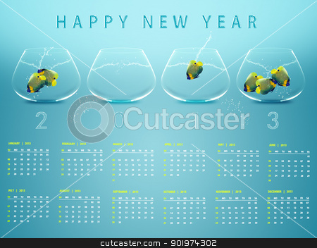 New year 2013 Calendar stock photo, New year 2013 Calendar with conceptual image of angelfish in fishbowl. by Designsstock