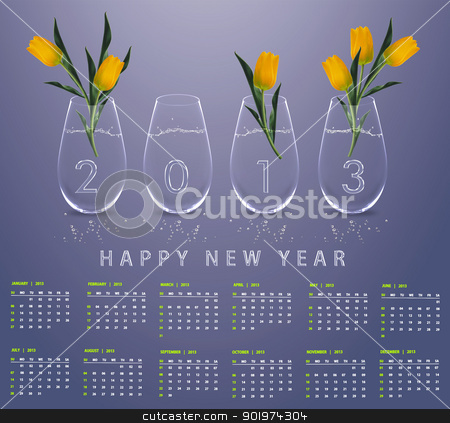 New year 2013 Calendar stock photo, New year 2013 Calendar with conceptual image of yellow tulips in glass vases. by Designsstock