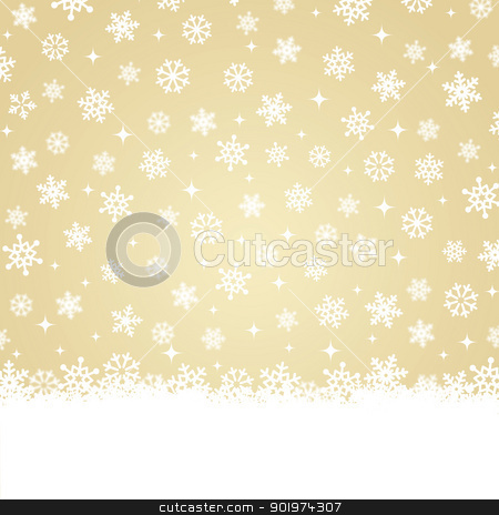 Christmas card - Snow on gold background stock vector clipart, Xmas greetings card - snowing by Agnieszka Bernacka
