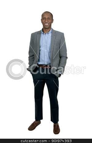 Black Business Man stock photo, A young handsome black African American man with a lovely smile by Robert Byron