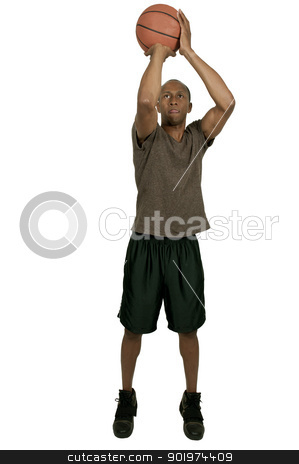 Black Man Basketball Player stock photo, Handsome black African American man playing basketball by Robert Byron