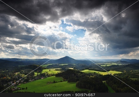 Wild landscape stock photo, Wild landscape and cloudy sky before rain and storm by Ondrej Vladyka