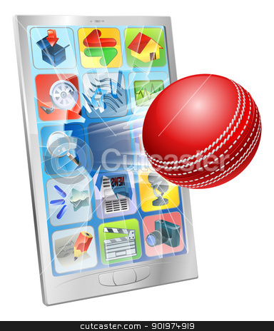 Cricket ball flying out of cell phone stock vector clipart, Illustration of an cricket ball flying out of cell phone screen by Christos Georghiou