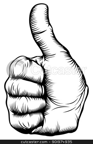 Thumbs up hand stock vector clipart, Illustration of a hand giving a thumbs up in a woodblock style  by Christos Georghiou