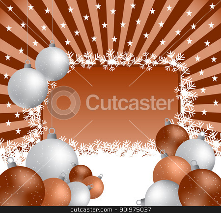 Christmas balls and sunburst stock vector clipart, Xmas balls in silver and brown on a sunburst background. Copy space for text. by toots77