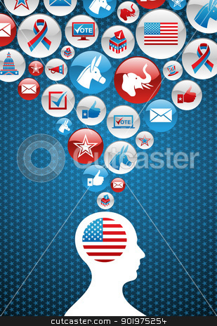 USA political elections decision man with icons stock vector clipart, USA elections voting man head with icons splash background. Vector file layered for easy manipulation and custom coloring. by Cienpies Design
