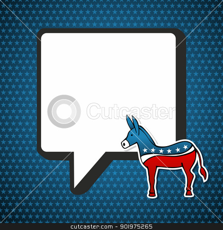 USA elections: Democratic politic message  stock vector clipart, USA elections Democratic politic message with donkey in sketch style over blue stars background. Vector file layered for easy manipulation and custom coloring. by Cienpies Design