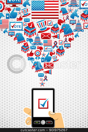 USA elections online voting stock vector clipart, US elections online voting: hand holding a smartphone with icons splash background. Vector file layered for easy manipulation and custom coloring. by Cienpies Design