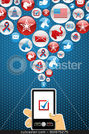 USA elections online voting stock vector clipart, US elections online voting: hand holding a smartphone with glossy icons splash background. Vector file layered for easy manipulation and custom coloring. by Cienpies Design