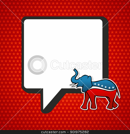 USA elections: Republican politic message stock vector clipart, USA elections Republican politic message in sketch style over red stars background. Vector file layered for easy manipulation and custom coloring. by Cienpies Design
