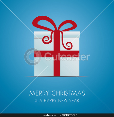 white gift box with red ribbon stock photo, white gift box with red ribbon background by d3images