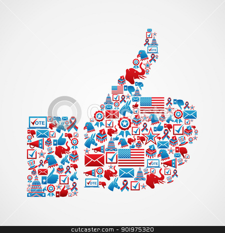 USA elections icons thumb up hand stock vector clipart, USA elections icon set in thumb up hand shape. Vector file layered for easy manipulation and custom coloring. by Cienpies Design