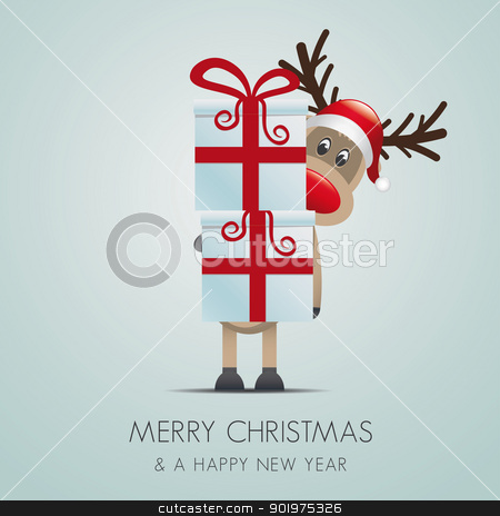 reindeer hold gift boxes stock photo, reindeer hold gift boxes with red ribbon by d3images