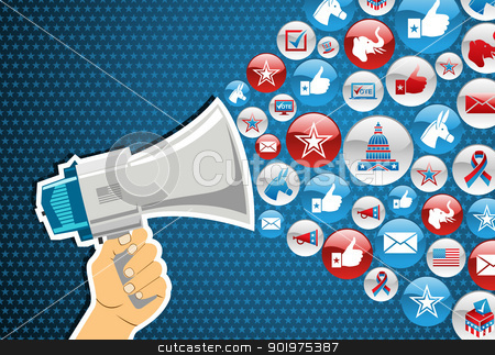 US elections: politics message promotion stock vector clipart, US elections politic marketing communication: hand holding a megaphone with icons splash background. Vector file layered for easy manipulation and custom coloring. by Cienpies Design