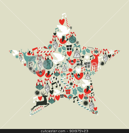 Christmas icons star shape stock vector clipart, Christmas icons set in star shape.Vector illustration layered for easy manipulation and custom coloring. by Cienpies Design