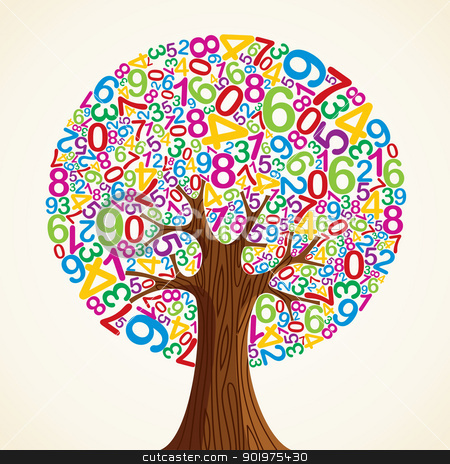 School education concept tree hand stock vector clipart, School education concept tree made with numbers. Vector file layered for easy manipulation and custom coloring. by Cienpies Design