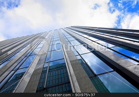 Skyscaper and blue sky, wide angle  stock photo, Skyscaper and blue sky, wide angle  by Juliet Photography