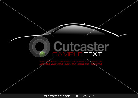 White silhouette of car sedan on black background. Vector illust stock vector clipart, White silhouette of car sedan on black background. Vector illustration by Leonid Dorfman
