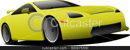 Yellow car on the road. Vector illustration stock vector clipart, Yellow car on the road. Vector illustration by Leonid Dorfman